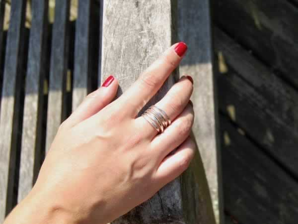 """Bound"" 5 Strand Sterling Silver Wrap Ring (optional diamond)"