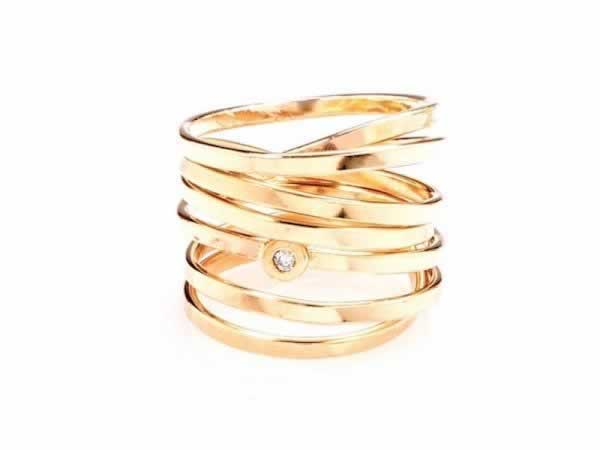 """Bound"" 7 Strand Gold Wrap Ring (optional diamond)"
