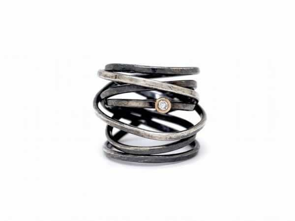 """Bound"" 7 Strand Oxidized Sterling Silver Wrap Ring (optional diamond)"