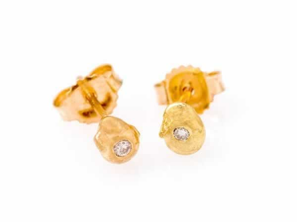 """Seed"" 14k Gold & Diamond Stud Earrings"