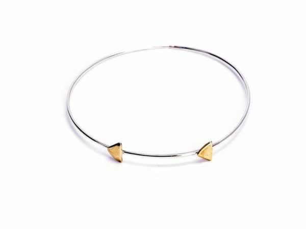 """Continuum"" Brass & Silver Bangle Bracelet"